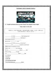 English Worksheet: Song about Simple Plan