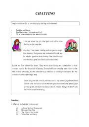 English Worksheets: CHATTING: Reading comprehension