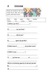 English Worksheets: Pair interview
