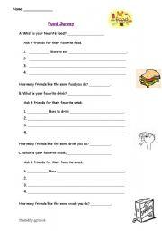 ESL worksheets for beginners: Food Survey