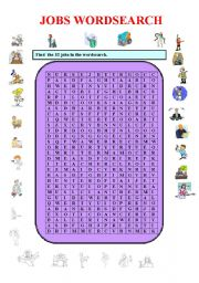 English Worksheets: Jobs wordsearch- 32 jobs ( Part I).