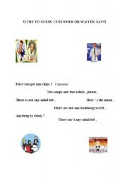 English Worksheets: waiter or customer