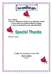 English Worksheets: Thanking Certificate for excellent students