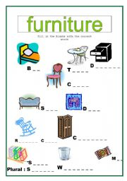 house and furniture worksheet pdf
