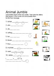 English Worksheets: Animal Jumble