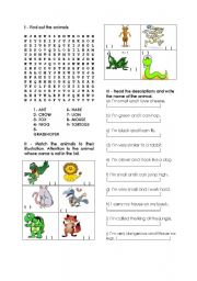 English Worksheets: search the animals
