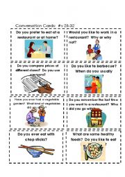 English Worksheet: Conversation Cards  Food #s 17-25