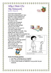 English Worksheet: Why I didn�t do my homework?