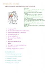 English Worksheets: ROUTINES - READING COMPREHENSION -
