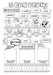 English Worksheet: I can draw series (farm animals) (1/10)