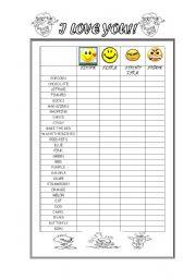 English Worksheets: I LOVE - I LIKE - I DON�T LIKE - I HATE