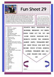 English Worksheets: Fun Sheet 29