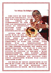 English Worksheets: New Orleans - The Birthplace of Jazz
