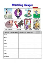 English Worksheets: Pairwork - Talking about changes - Two sheets for Student A and B