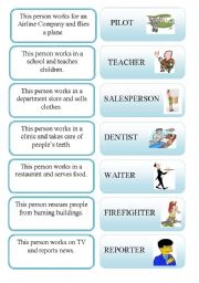 English Worksheets: Occupations activity card