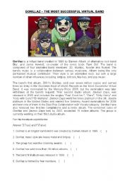 English Worksheets: Gorillaz The most successful virtual band!