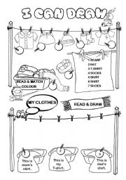English Worksheet: I can draw series (3/10) - clothes, part 1