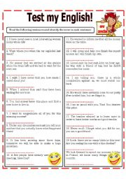 English Worksheet: TEST MY ENGLISH! - - - ERROR CORRECTION