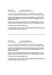 English Worksheets: White Fang Writing Assignment
