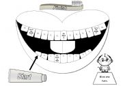 English Worksheets: Mouth Gameboard in Greyscale with Cards and Tokens