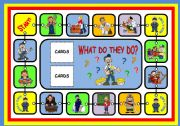 English Worksheets: WHAT DO THEY DO? - BOARD GAME (PART 1)
