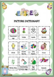 English Worksheet: EASTER PICTIONARY FOR ELEMENTARY STUDENTS