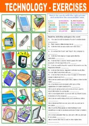 English Worksheet: TECHNOLOGY - EXERCISES
