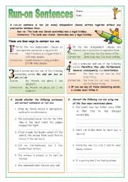 English Worksheet: Run-on Setences