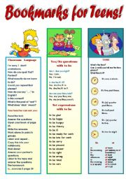 English Worksheet: MY SUPER BOOKMARKS! PART 5  FOR TEENS!!! (EDITABLE!!!) - 1-classroom language, 2-to be yes/no questions and set-expressions, 3-time, 4- possessive case + 2 BLANK BOOKMARKS TO FILL IN WITH WHAT YOU WANT! (2 pages)
