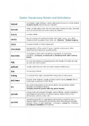 English Worksheet: Easter vocabulary and meanings for each word