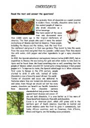 English Worksheet: THE HISTORY OF CHOCOLATE