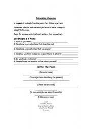 English Worksheets: Cinquains