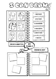 English Worksheet: I can draw series (5/10) - family