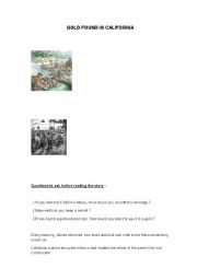 English Worksheet: The Gold rush in California