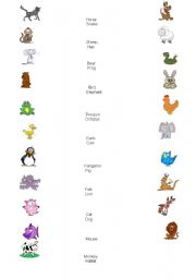 English Worksheets: Draw lines to the correct animal