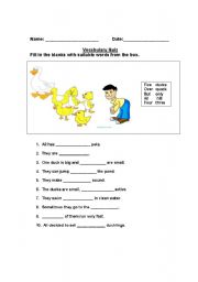 Vocabulary Quiz- Five little ducks