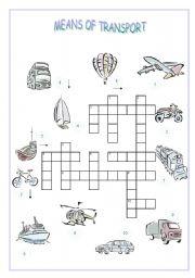english teaching worksheets transports crosswords. Black Bedroom Furniture Sets. Home Design Ideas