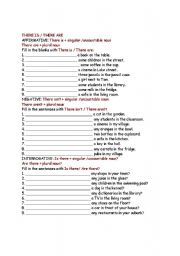 English Worksheets: there is-are