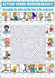 English Worksheets: ACTION VERBS -  WORDSEARCH (1)