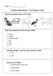 English teaching worksheets: The Enormous Turnip