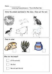 English teaching worksheets: Little Red Hen