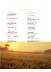 English Worksheets: Fields of Gold (fill the gaps and questions)
