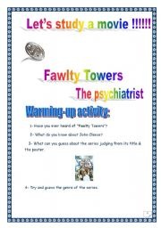 Fawlty Towers Series: The psychiatrist. 12 PAGES. COMPREHENSIVE PROJECT. 5 pages + complete KEY. over 30 TASKS.