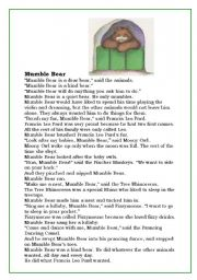 English Worksheets: Mumble Bear