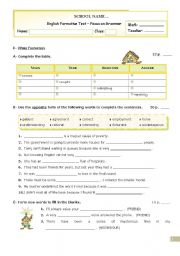 Grammar Formative Test  for Upper Intermediate and Advanced students