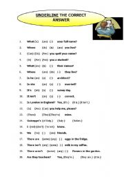 English Worksheets: BEGINNERS/ELEMENTARY PROGRESS TEST - 20 questions