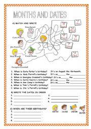English Worksheet: MONTHS, DATES, ORDINAL NUMBERS