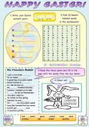 English Worksheet: HAPPY EASTER! - FUN  EASTER ACTIVITIES FOR KIDS WITH KEYS
