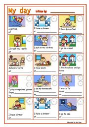 English Worksheet: DAILY ROUTINE-GUIDED WRITING