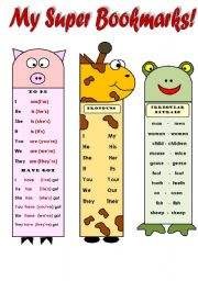 English worksheet: MY SUPER BOOKMARKS PART 2! - FUNNY VOCABULARY AND GRAMMAR BOOKMARKS FOR YOUNG LEARNERS ( to be, to have; months of the year, irregular plurals,personal  and possessive pronouns, farm animals) EDITABLE WITH B&W VIRSION!!!